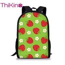 Thikin Fresh Strawberry School Bag for Teenager Backpack Girls Cool Summer Travel Package Shopping Shoulder Women Mochila