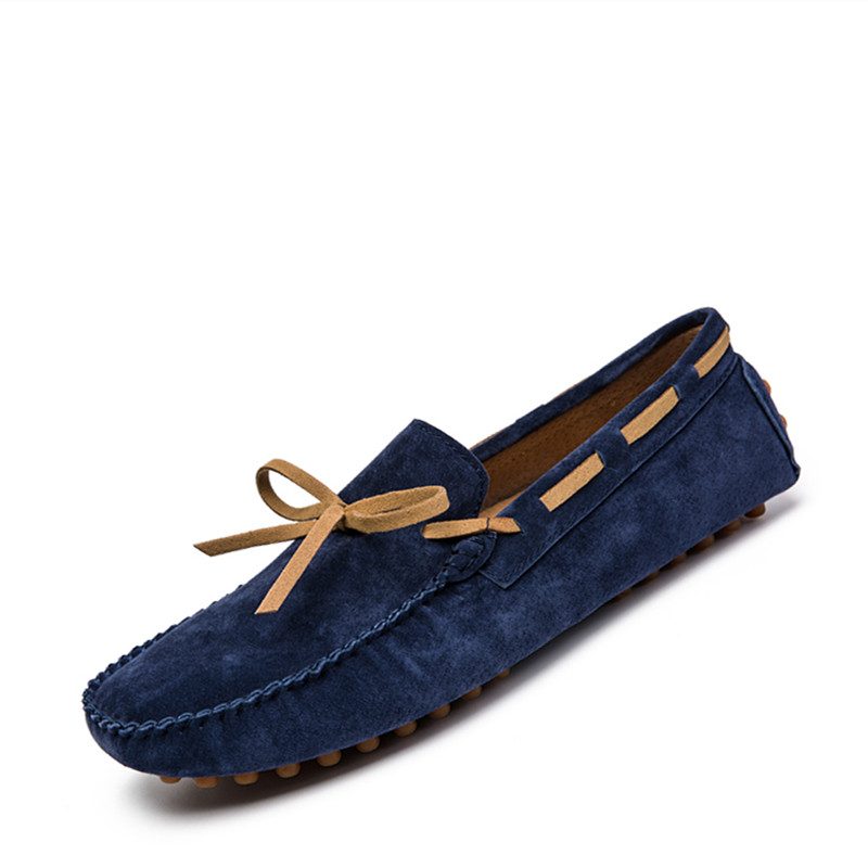 VSIOVRY 2019 New Plus Size 46 47 Men's   Leather   Casual Shoes High Quality Genuine   Leather   Men Boat Shoes Soft Loafers for Driving