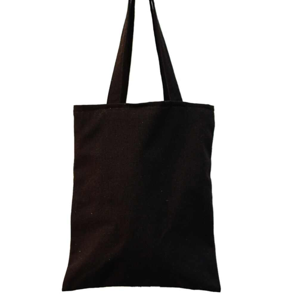 1Pcs Black Canvas Shopping Tote Vintage Style Cloth Bag Reusable Simple Design Shoulder Carrying Bag Eco Reusable Bag