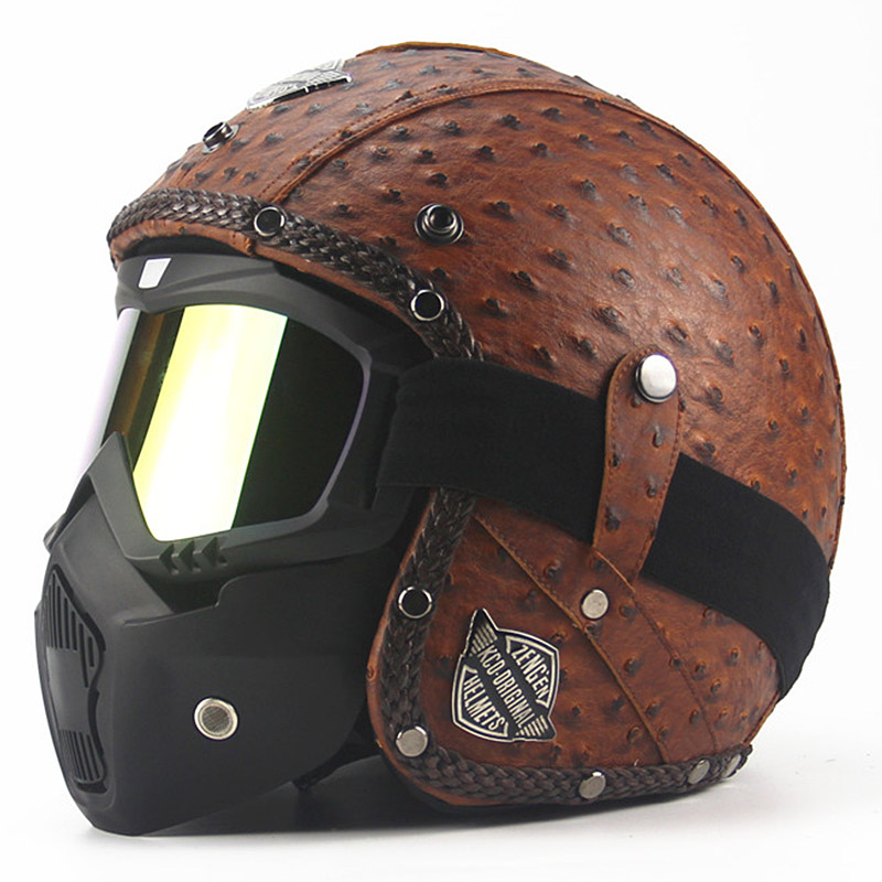 VCOROS Harley vintage Motorcycle helmet retro racing motorbike helmet and classic mask fashion open face scooter moto helmets
