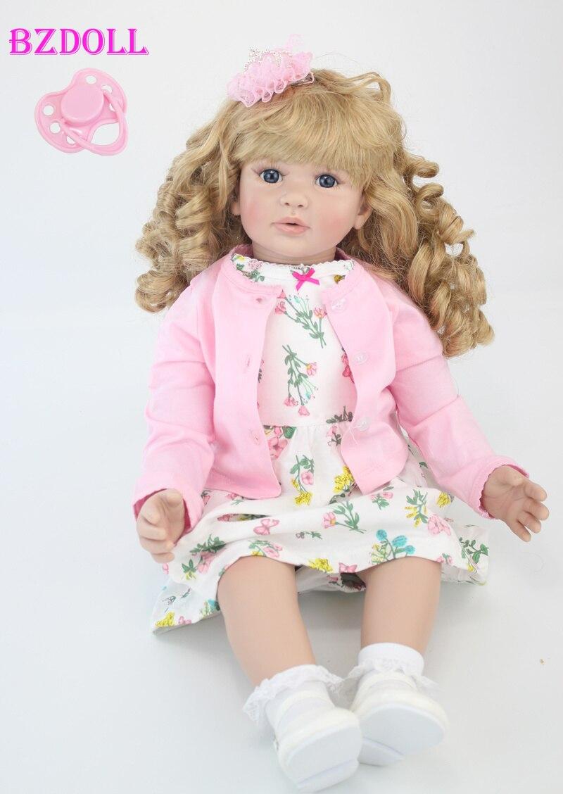 60cm Silicone Vinyl Reborn Baby Doll Toys 24inch Pink Dress Princess Toddler Girls Babies Dolls Kid
