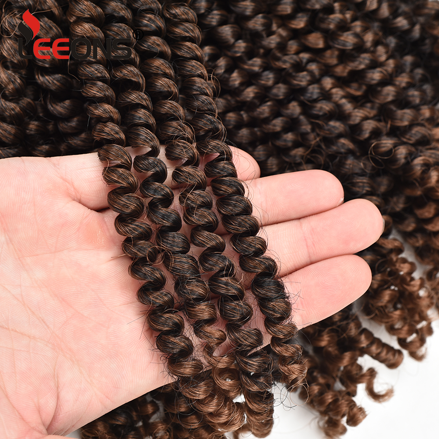 Leeons Afro Hair Extensions Spring Twist Braid Hair Synthetic Ombre Braiding Hair Crochet Braids Extensions 30 Strands 8Inch