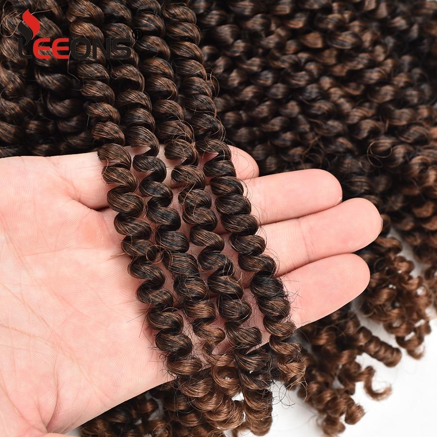 Extensiones de Cabello Afro de Leeons trenza de primavera pelo sintético extensiones de trenzas de Crochet 30 hebras 8 pulgadas