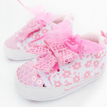 Pink Cute Baby Girl's Floral Bow-knot Bling Sequins Crib Lace Shoes Infant Toddler Sneakers Floral Printed Fashion Footwear(China)