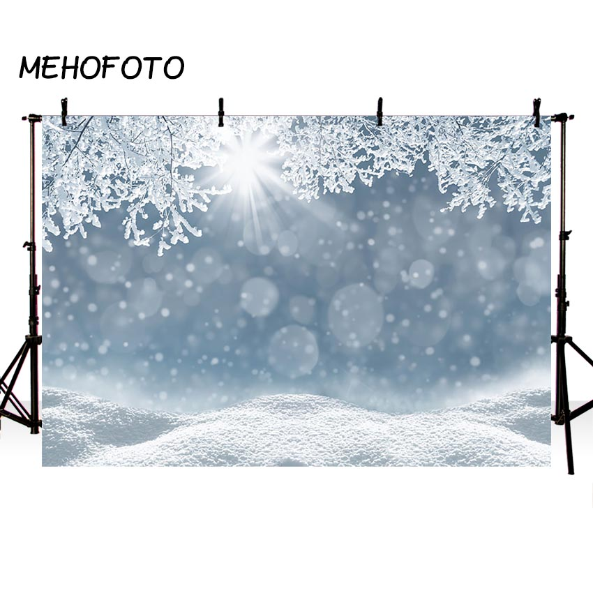 Mehofoto Winter Photo Booth Backdrop Christmas Frozen Ice Glitter