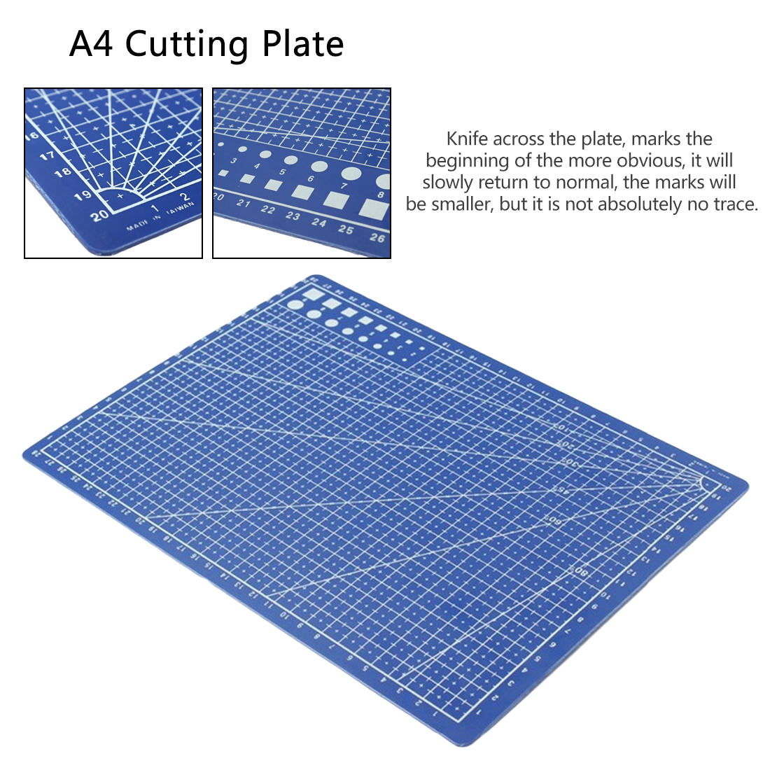 Portable Cutting Plate 1PC A4 Grid Lines Self Healing Cutting Mat Craft Card Paper Board 30 X 22cm Blue