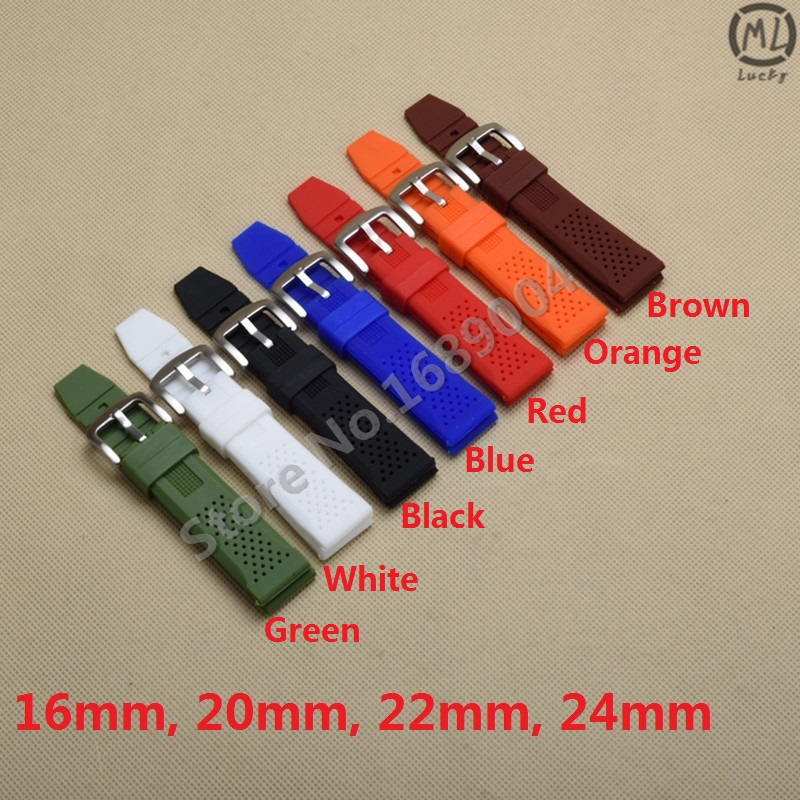 Hot sale Men Women Black Brown Blue 7 colors Silicone Rubber Watchband Strap watch Band Waterproof