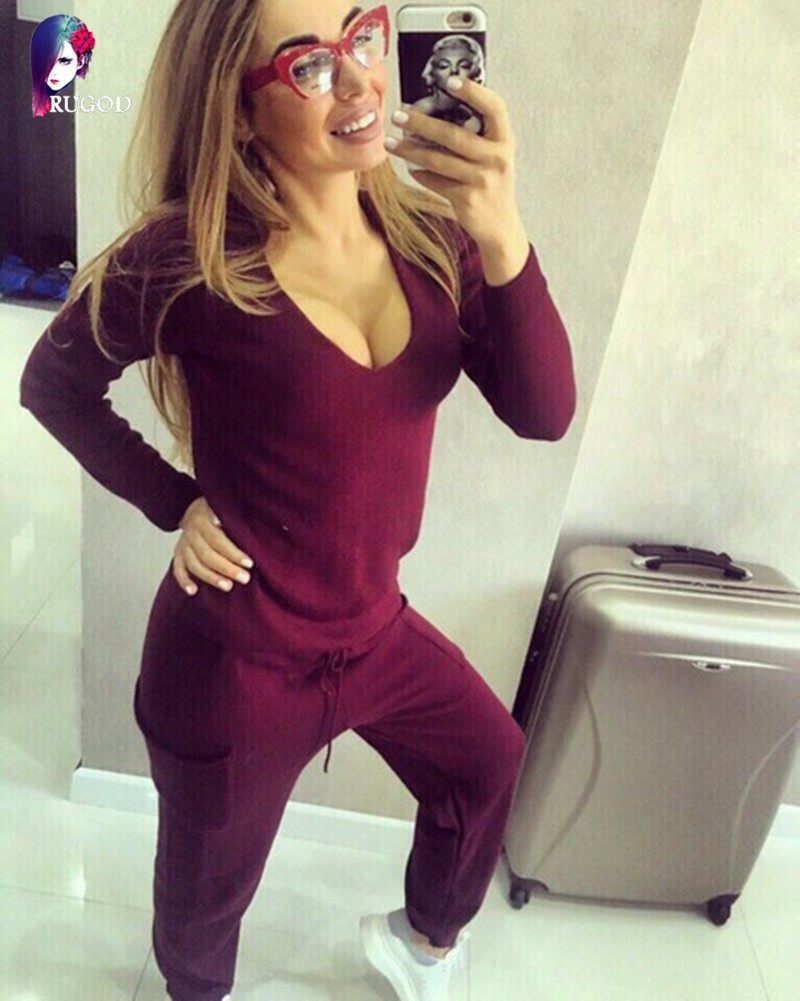 17 Hot 2 Pieces Set Women V-Neck Sexy Knitted two pieces sets Spring Suits Tracksuit Sweater top+ Pants Set Womens Casual Suit 9