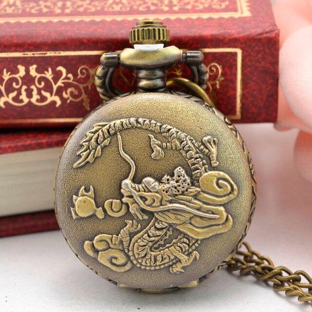 Classic stainless steel pocket watch chain Retro Bronze Design Pocket Watch Quar