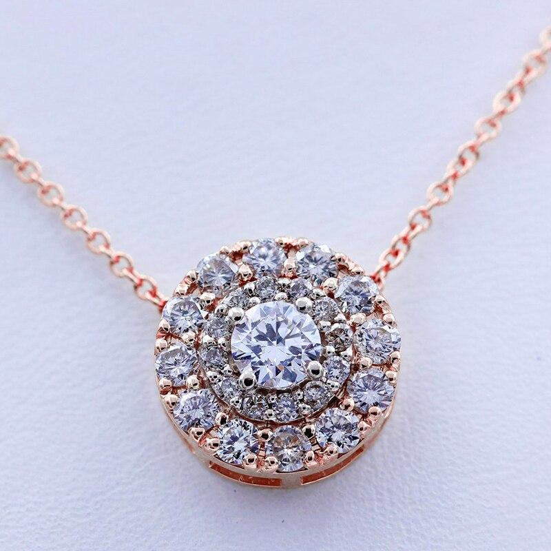 AEAW Echt 10 K Weiß Und Gelb Gold Lab Grown 3mm Moissanite Diamant Anhänger mit Chian Halskette Für Frauen-in Halsketten aus Schmuck und Accessoires bei  Gruppe 3