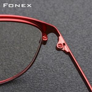 Image 4 - FONEX סגסוגת משקפיים מסגרת גברים מותג מעצב מרשם משקפיים מלא אופטי מסגרות משקפי 10012