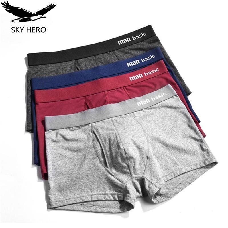 4pcs/lot Male underwear boxer shorts homme cotton mens boxers men's underpants panties for man culotte sky hero brands
