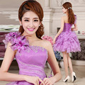 Free shipping 2017 Real Photo Purple One Shoulder Flowers Bridesmaid Frocks Mini Dresses Ball Gowns YNWY006