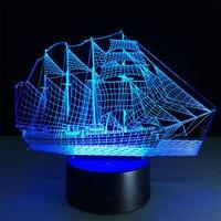海賊カリブ海3dノベルティ光7色変えアクリルledランプ創造デスクランプリビングルームライ