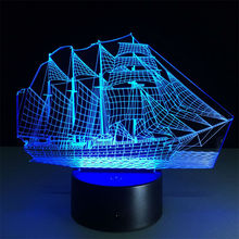 Pirates Caribbean 3D Novelty Light 7 Colors Changing Acrylic LED Lamp Creative Touch Desktop Lamps Living Room Lights