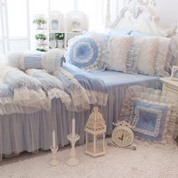 Textiles White Rose Design Bedding Set Comforter Gifts High Quality Duvet Cover pillow Bed Skirt Christmas Princess 4 Pcs Blue