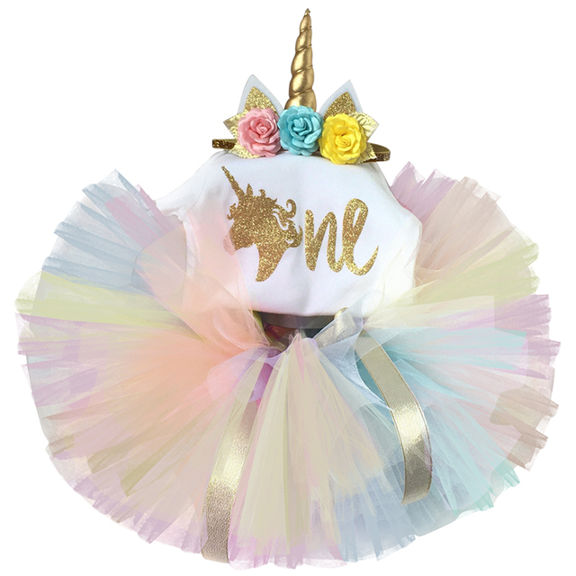 c799ceb82 Newborn 2019 Flower Party Clothes Set Baby Girl One Years First Birthday  Tutu Outfits for Girls Tulle Toddler Baby Clothing Suit
