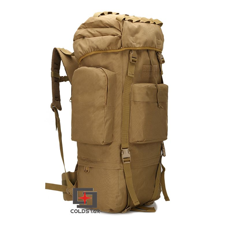 ФОТО Tan Color 65L Large Capacity Mountaineering Bag High quality Outdoor Backpack Waterproof Travel Hiking Camping Tactical Bag