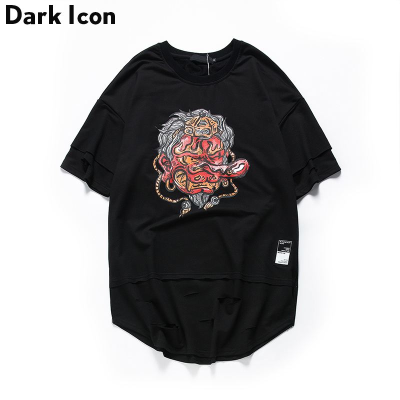 Devil Printed Curved Hem Ripped Hip Hop T-shirt Men 2017 Summer Panel Hipster T Shirts Casual Men's Tee Shirts Street Clothes