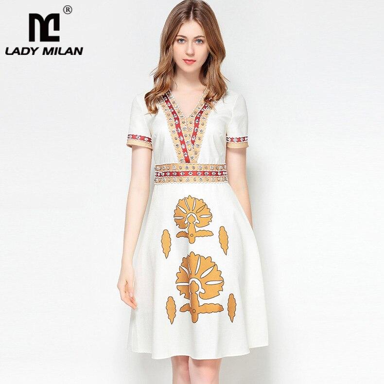 New Arrival 2018 Womens Sexy V Neck Short Sleeves Rhinestones Beaded Printed A Line Fashion Designer Runway Dresses