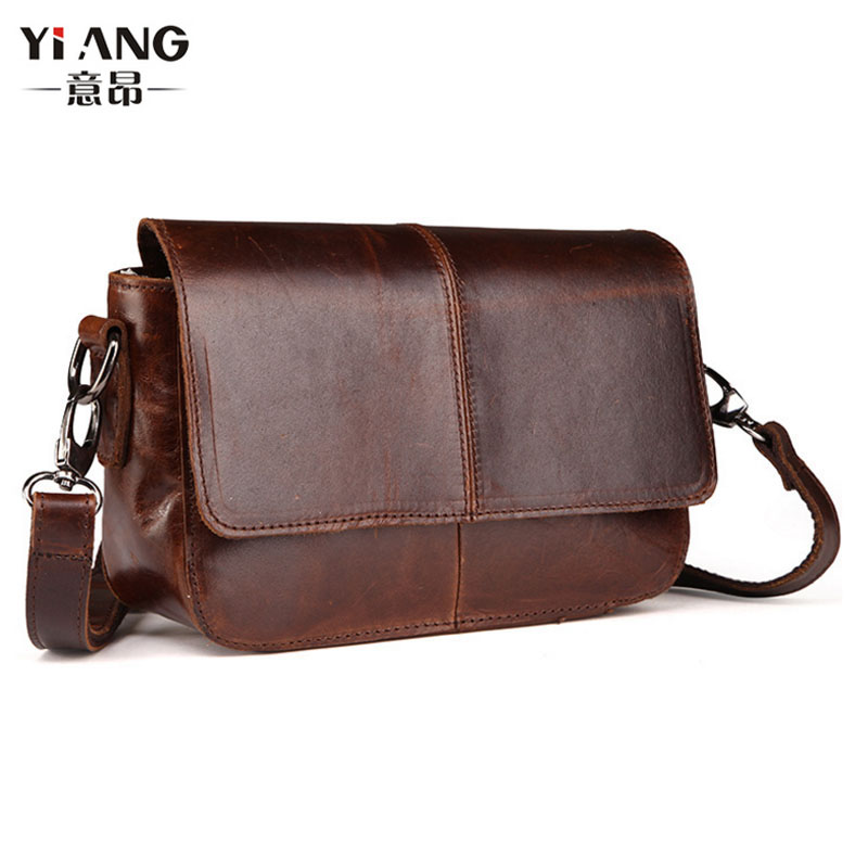 Men High Quality Oil wax Genuine Leather Cowhide Vintage Business Briefcase Travel Casual Crossbody Shoulder Bag New new genuine leather men bag oil wax cowhide vintage male single shoulder crossbody messenger bag quality brand casual satchel