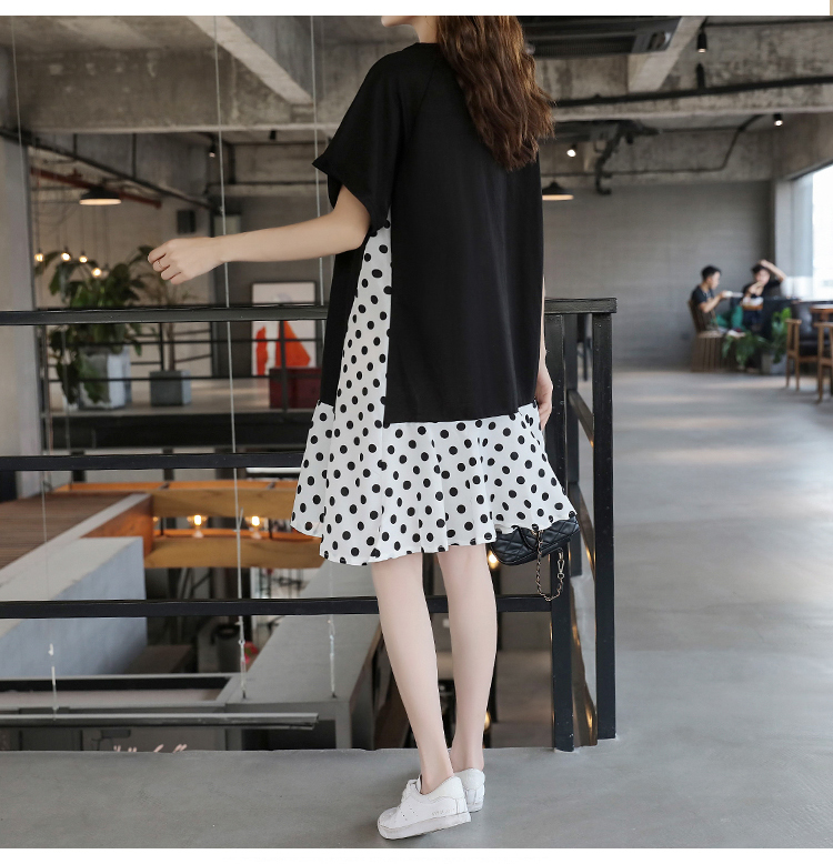 XL-5XL Plus Size Women Casual Dress Summer 2019 Short Sleeve Cotton Patchwork Chiffon Loose Casual Polka Dot Dresses 10