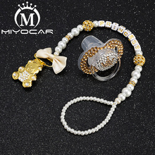 MIYOCAR gold bling bear pacifier clip dummy holder with crown SP016