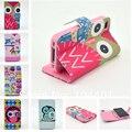 Família bonito da coruja estilo leather flip case para iphone 4 4s 5S SE 6 S 6 Plus com suporte de cartão tampa do suporte carteira