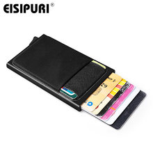 Men Aluminum Wallet With Back Pocket ID Card Holder RFID Blocking Mini Slim Metal Wallet Automatic Pop up Credit Card Coin Purse(China)