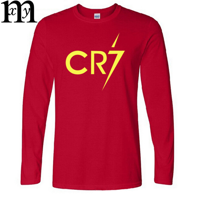 New Ronaldo  Long Sleeve Men's Long Sleeve  T-Shirt printing CR7 Cotton T Shirts Mens