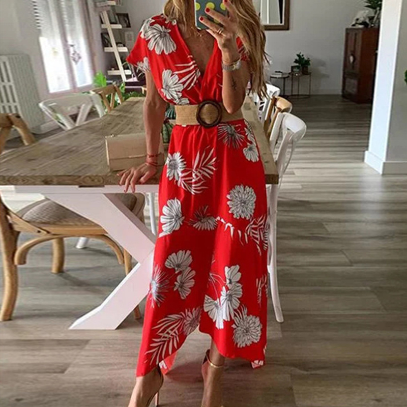 2019 Female Summer Beach Holiday Boho Style Sexy V Neck Maxi Sundress Ladies Short Sleeve Floral Print Wrap Casual Womens Dress