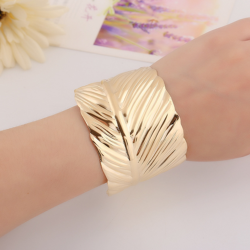 Us 2 59 30 Off Fashion Gold Platrd Cuff Bracelet Female Vintage Leaves Wide Bangles For Women Statement Jewelry Accessories Pulseiras Yw263 In