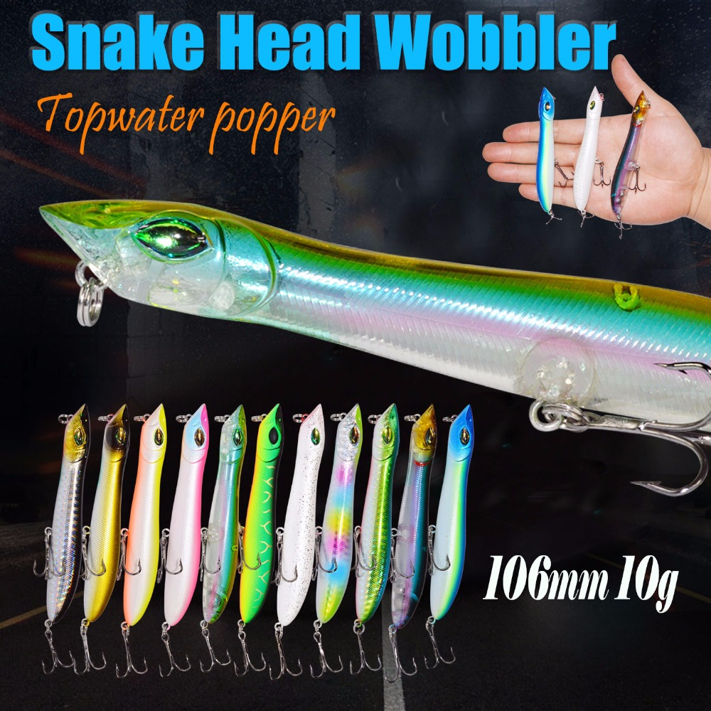 Hard Lure 106mm/10g Fishing Lure Snake Head Popper Bait Plastic Baits Lure Fishing Peche Iscas Artificial Para Pesca Fodder fishing lure 30pcs lot 3g 7g minnow popper spinner spoon metal lure iscas artificial bait fishing lure kit isca artificial free