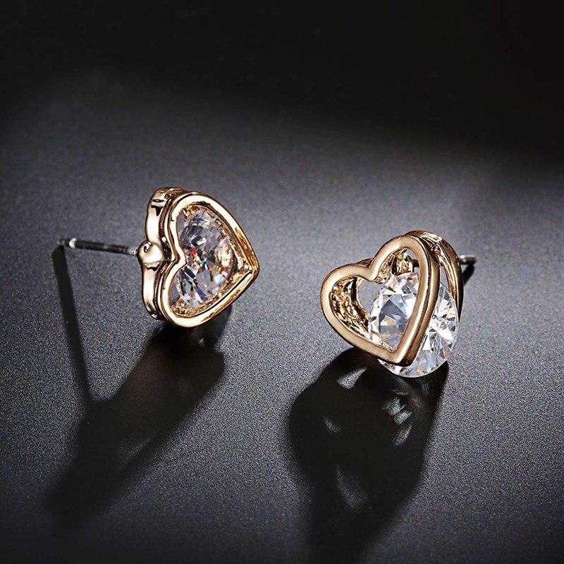 Loving Heart Zircon Gem Gold Silver Plated Stud Earrings for Women ...