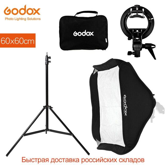 Godox 60x60 cm 24x24 pouces Flash Speedlite Softbox + S type support Bowens support avec 2 m support de lumière pour la photographie de caméra