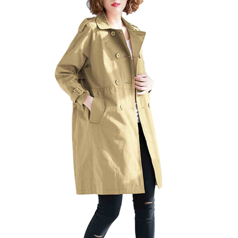 Women   Trench   Coat 2019 Spring British style Loose Large Size Solid Double-breasted Outerwear Casual Long Windbreaker Female Q2