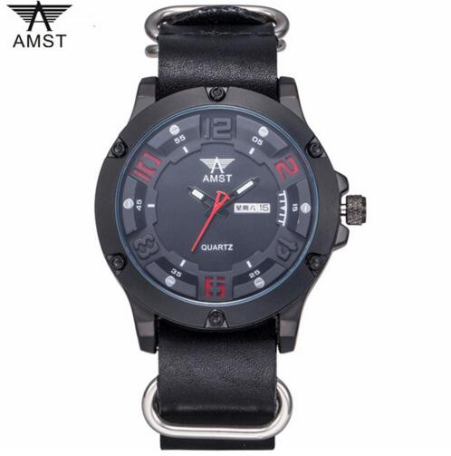2018 AMST Brand Quartz Watch for men fashion military army sports watches genuine leather steel ring waterproof clock 3024-1 weide new men quartz casual watch army military sports watch waterproof back light men watches alarm clock multiple time zone