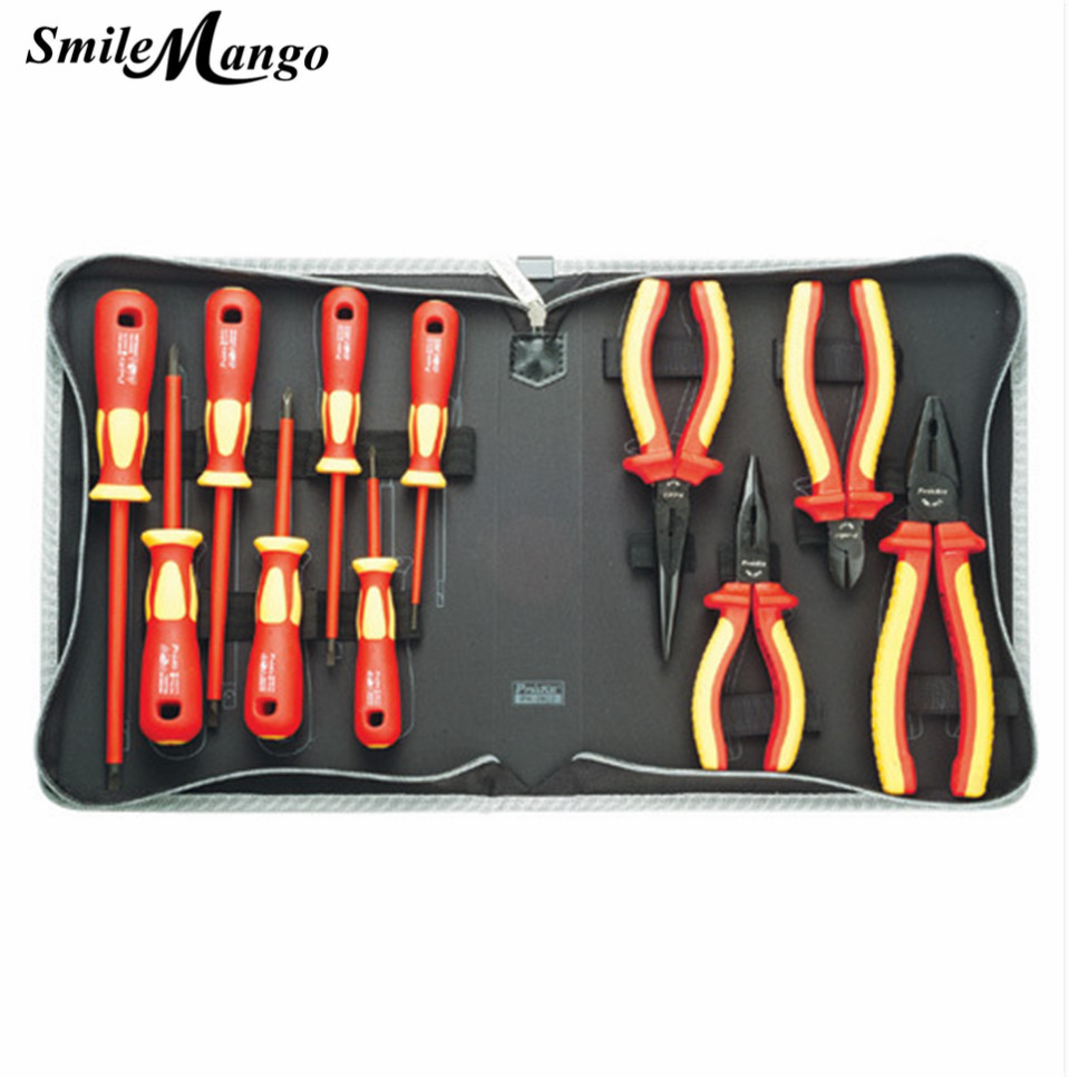 SmileMango High Quality Authentic Taiwan VDE1000V PK-2802 high voltage insulation tool set of 11 pieces of electrical tools