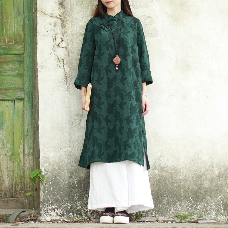 664123f944d0 2019 Cheongsam Blue Deep Cotone Green Abito Vestito Midi Jacquard Qipao  Molla deep Retro Cinese Lzjn ...