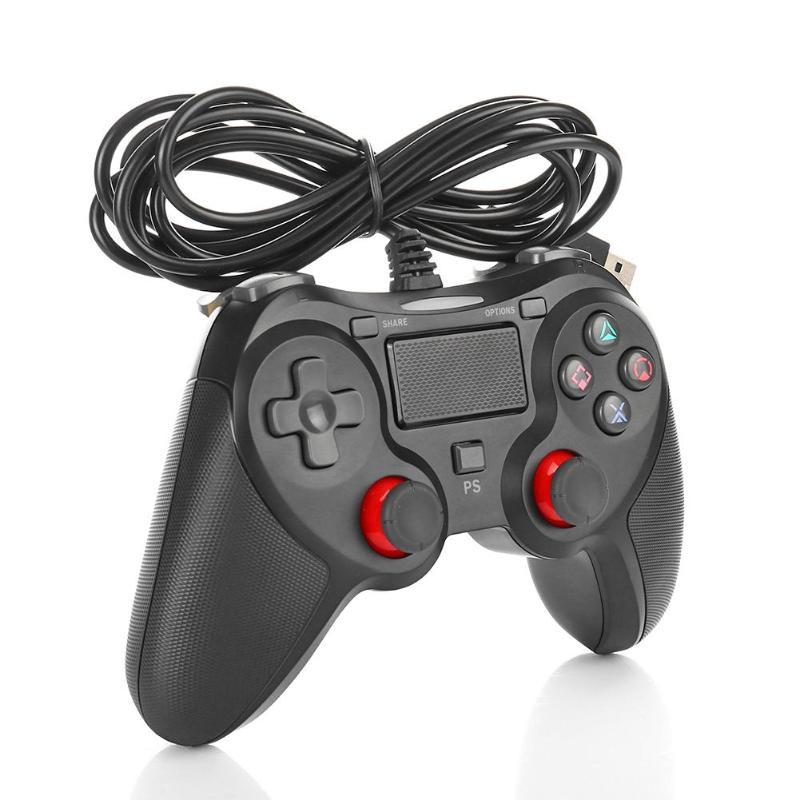 Tüketici Elektroniği'ten Oyun Kumandası'de PS4 için Gamepad Ile Özel Kalıp Lastik Kolu Titreşim USB kablosu Için Playstation 4 Controlle/PS4 Oyun Aksesuarları title=