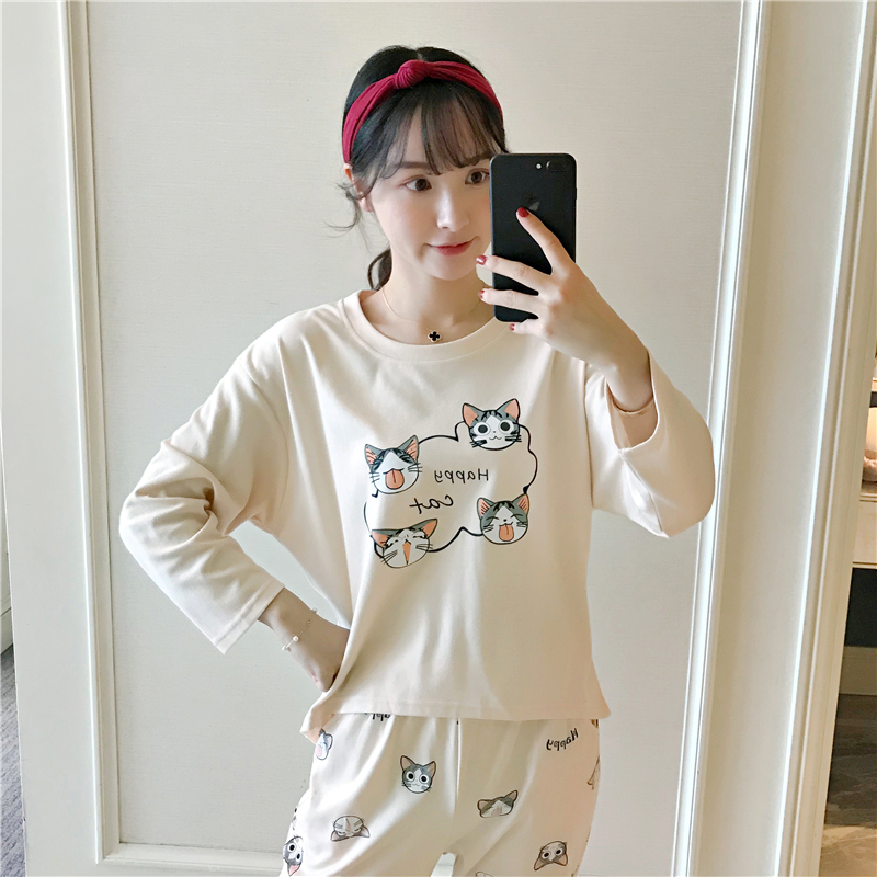 2019 Autumn 100% Cotton Pajama Sets For Women Long Sleeve Pyjama Girl Cute Cartoon Cat Sleepwear Homewear Clothing Pijama Mujer