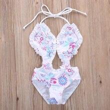 Floral Printed One-piece Girls Bikini Set
