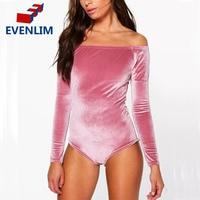 Evenlim fashion women velvet bodysuit slash neck jumpsuit new off shoulder short bodycon long sleeve playsuits.jpg 200x200