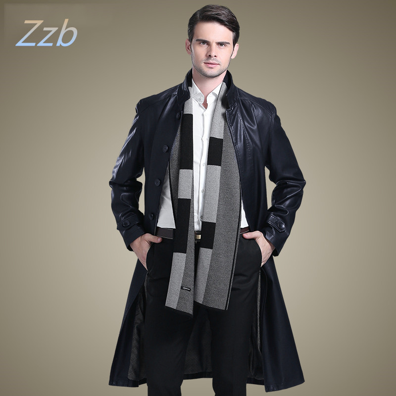 Stand collar Suit Collar long design leather clothing sheepskin overcoat male extra long Leather trench Coat man manteau de cuir