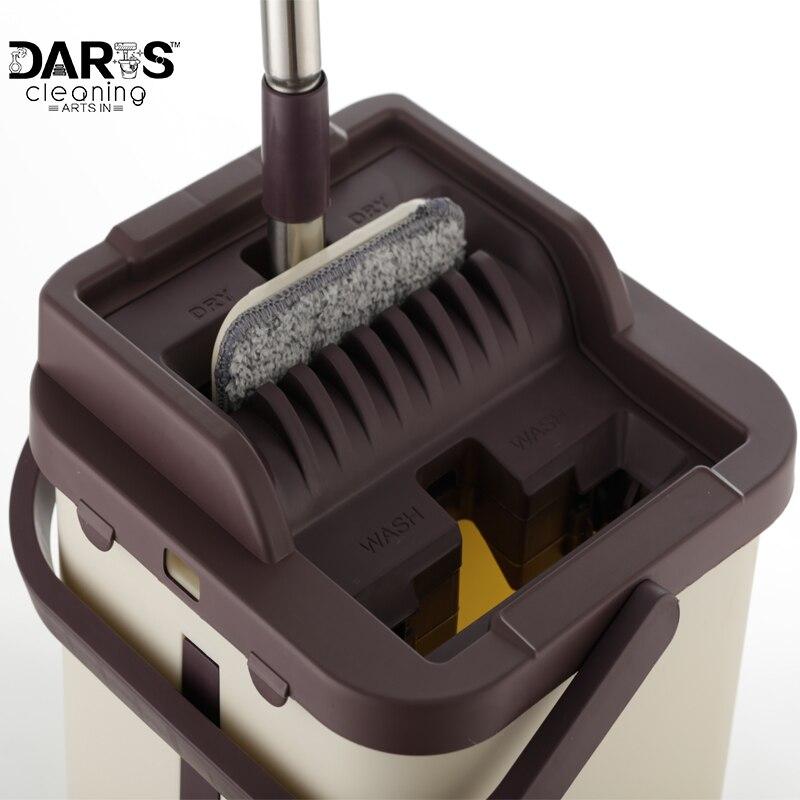 Плоская выдавливающая нержавеющая сталь легко отжимающая микрофибра швабра и система ковша для чистки пола с 4 шт. 10 плоских швабры
