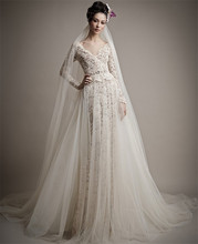 MANSA Vestido De Noiva 2015 Lace Long Sleeve Wedding Dress Vintage Backless Mermaid Gown With Train Robe Mariage