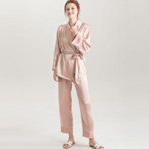Image 3 - Suyadream女性のシルクパジャマセット100% 本物のシルクサテンローブとパンツ2020春の新作パジャマピンク
