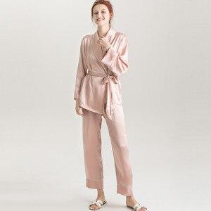 Image 3 - Suyadream feminino conjuntos de pijama de seda 100% real seda cetim roupões e calças 2020 nova primavera pijamas rosa