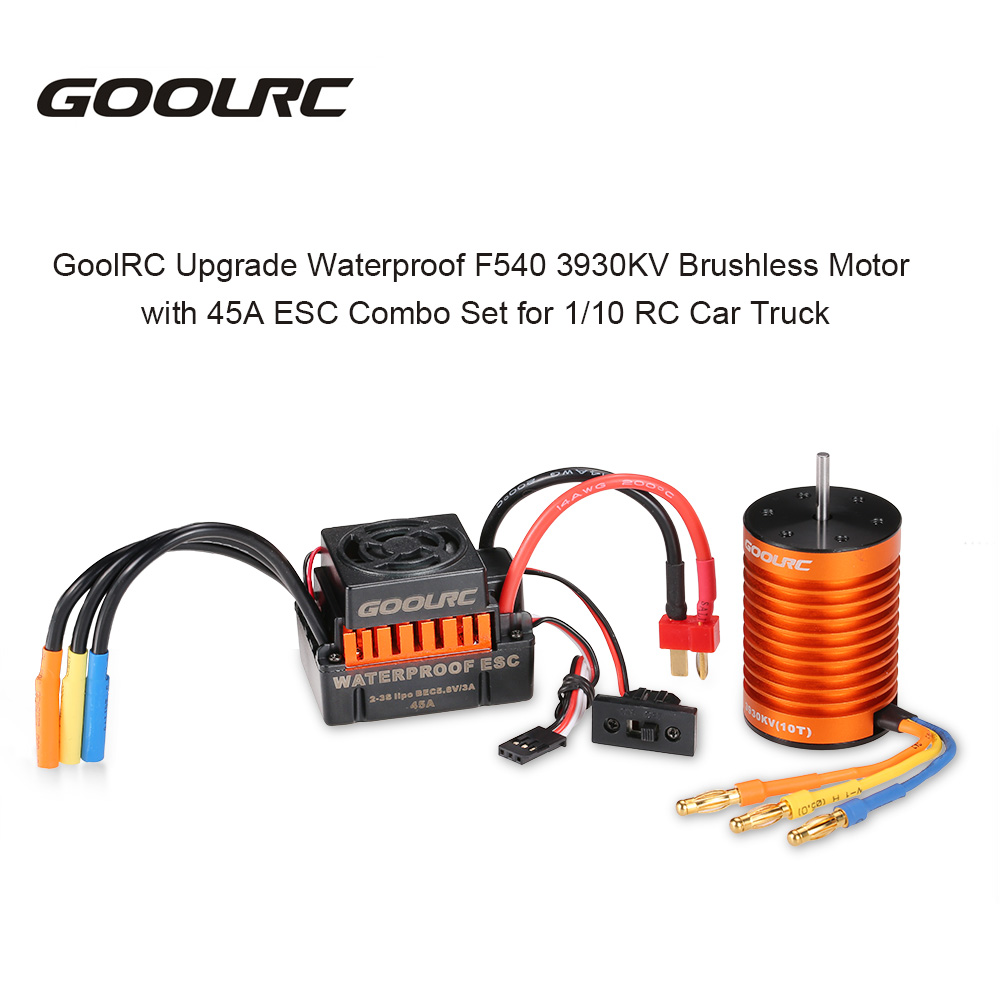 GoolRC Upgrade Waterproof F540 3930KV Brushless Motor with 45A ESC Combo Set for 1/10 RC Car Truck 4set lot universal rc quadcopter part kit 1045 propeller 1pair hp 30a brushless esc a2212 1000kv outrunner brushless motor