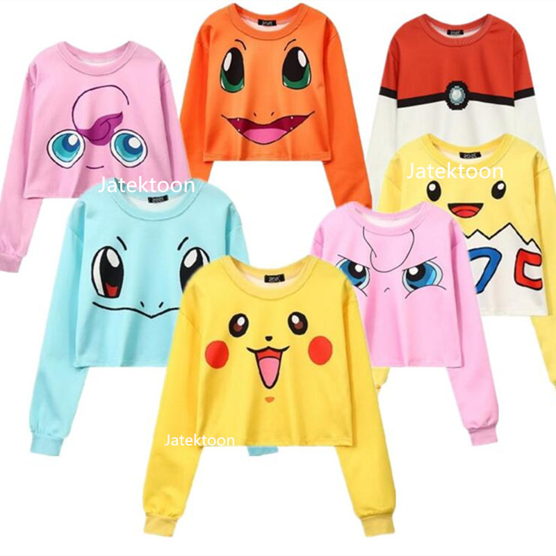 Harajuku 3D Print Poke Mon Pika Chu Pokeball Charmander Togepi Jigglypuff Squirtle Sweatshirts Fashion Long Sleeve Hoodies Tops